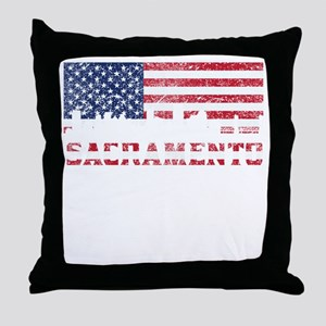 Sacramento CA American Flag Skyline Throw Pillow