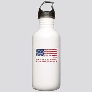 Sacramento CA American Flag Skyline Water Bottle