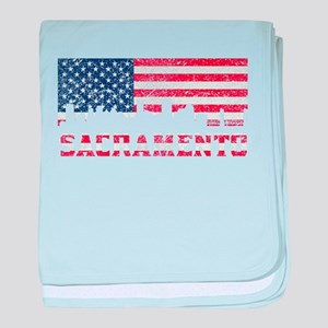 Sacramento CA American Flag Skyline baby blanket