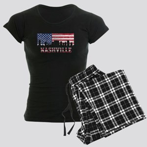 Nashville TN American Flag Skyline Pajamas