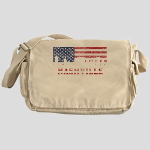 Nashville TN American Flag Skyline Messenger Bag
