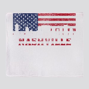 Nashville TN American Flag Skyline Throw Blanket