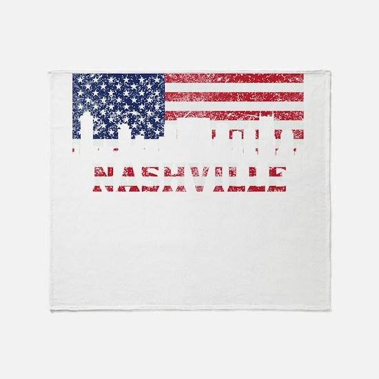 Nashville TN American Flag Skyline Throw Blanket
