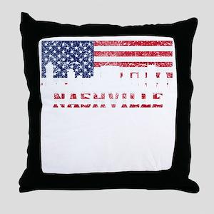 Nashville TN American Flag Skyline Throw Pillow