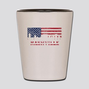 Nashville TN American Flag Skyline Shot Glass