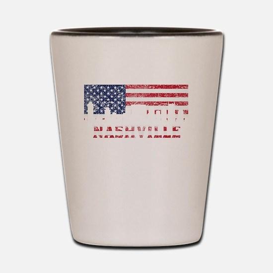 Nashville TN American Flag Skyline Shot Glass