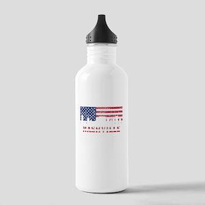 Nashville TN American Flag Skyline Water Bottle