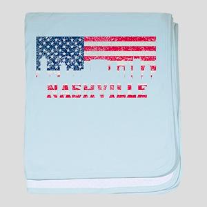 Nashville TN American Flag Skyline baby blanket