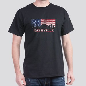 Nashville TN American Flag Skyline T-Shirt
