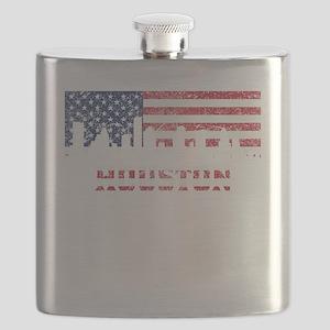 Houston TX American Flag Skyline Flask
