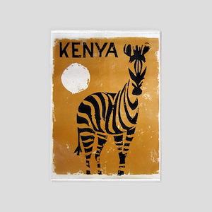 Kenya, Zebra, Vintage Poster 5'x7'area Rug