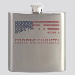 Corpus Christi TX American Flag Skyline Flask