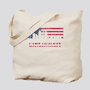 Cincinnati OH American Flag Skyline Tote Bag