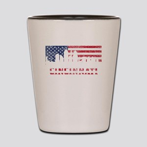 Cincinnati OH American Flag Skyline Shot Glass