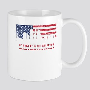 Cincinnati OH American Flag Skyline Mugs