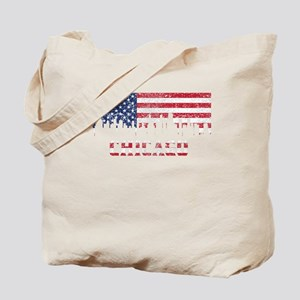 Chicago IL American Flag Skyline Tote Bag