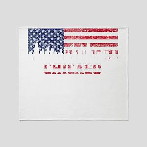 Chicago IL American Flag Skyline Throw Blanket