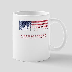 Charlotte NC American Flag Skyline Mugs