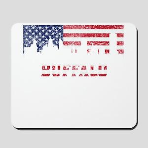 Buffalo NY American Flag Skyline Mousepad