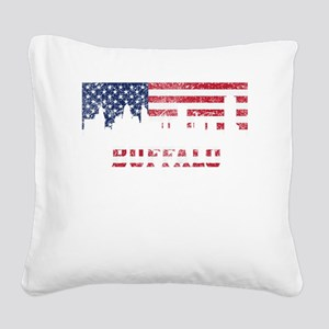 Buffalo NY American Flag Skyline Square Canvas Pil