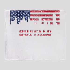 Buffalo NY American Flag Skyline Throw Blanket