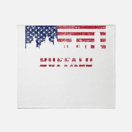Buffalo NY American Flag Skyline Throw Blanket