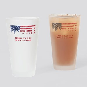 Buffalo NY American Flag Skyline Drinking Glass