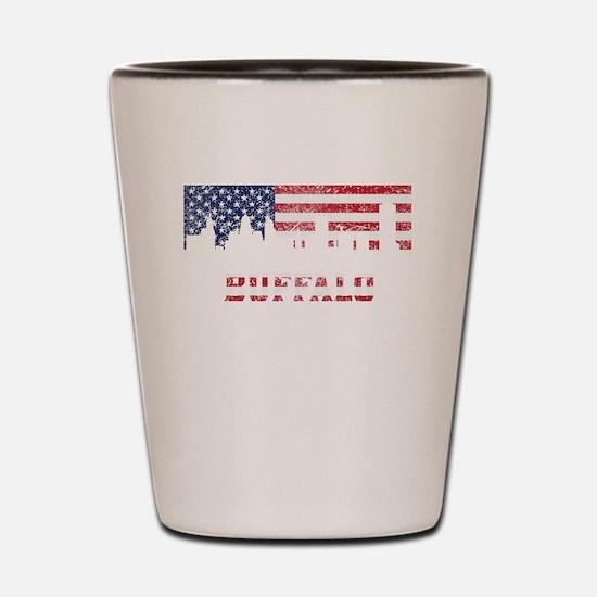Buffalo NY American Flag Skyline Shot Glass