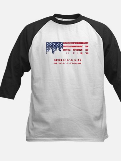 Buffalo NY American Flag Skyline Baseball Jersey