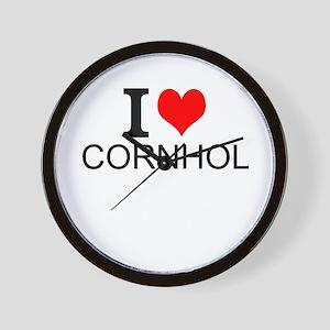 I Love Cornhole Wall Clock