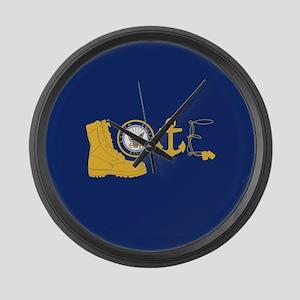 Navy Love Large Wall Clock