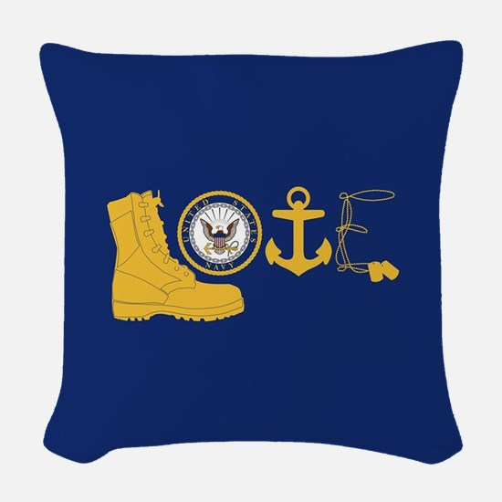 Navy Love Woven Throw Pillow