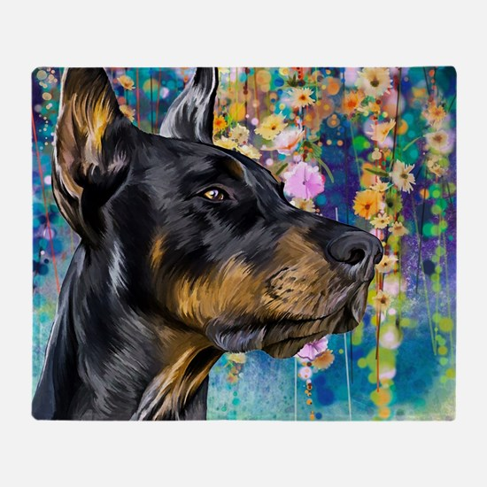 Doberman Painting Throw Blanket
