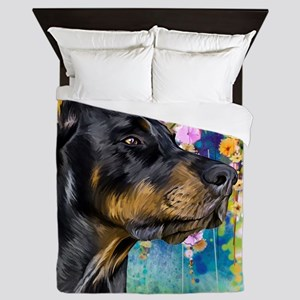 Doberman Painting Queen Duvet
