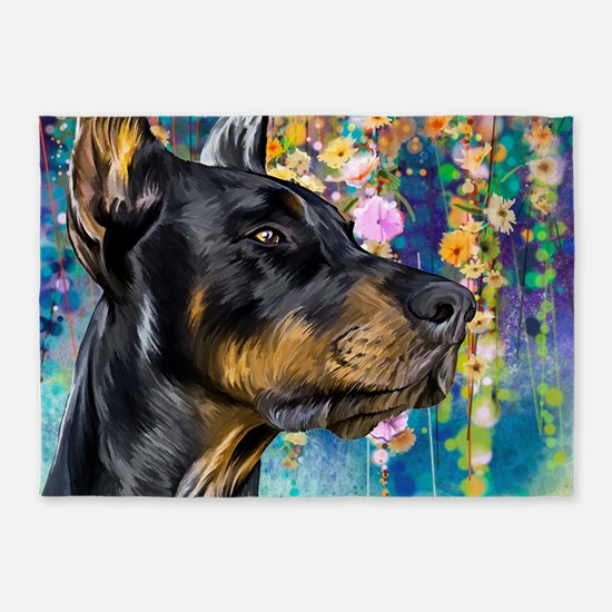 Doberman Painting 5'x7'Area Rug
