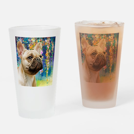 French Bulldog Painting Drinking Glass