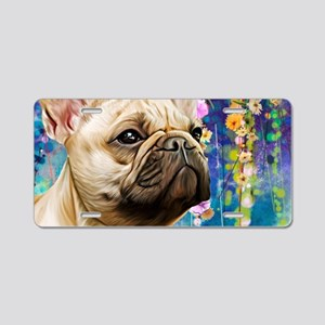 French Bulldog Painting Aluminum License Plate