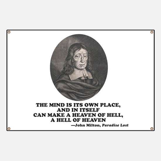 Milton Heaven of Hell Paradise Lost Quote Banner