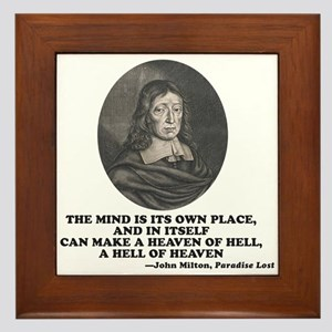 Milton Heaven of Hell Paradise Lost Quote Framed T