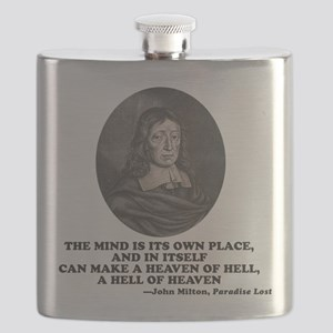 Milton Heaven of Hell Paradise Lost Quote Flask