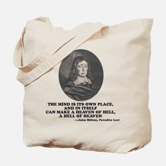 Milton Heaven of Hell Paradise Lost Quote Tote Bag