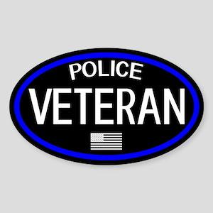 Police: Veteran & U.S. Flag (The Th Sticker (Oval)