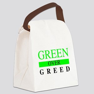 Green over Greed Canvas Lunch Bag