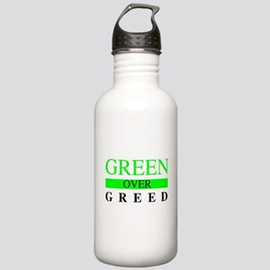 Green over Greed Water Bottle