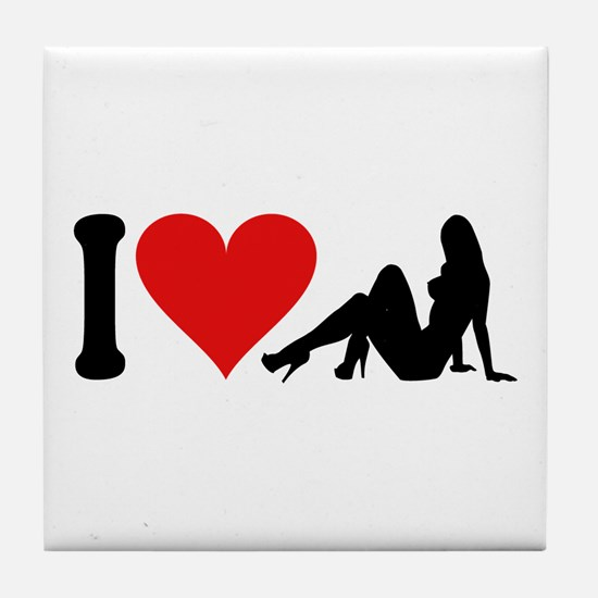 I Love Strippers (design) Tile Coaster