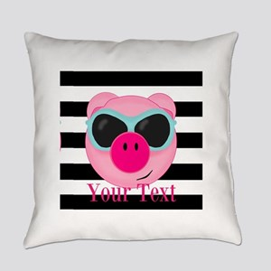Cool Pink Pig Everyday Pillow