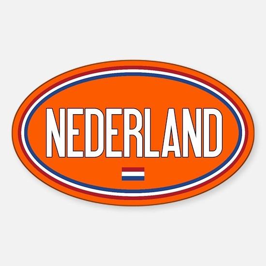 The Netherlands: Nederland Flag Oval (Orange) Stic