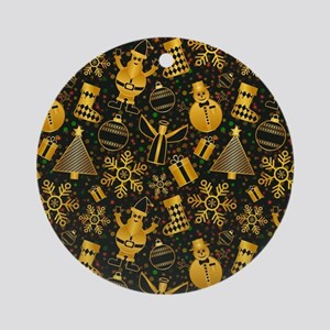 Festive Golden Christmas Pattern Round Ornament