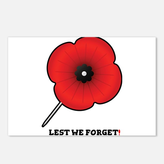 REMEMBRANCE POPPY - LEST Postcards (Package of 8)
