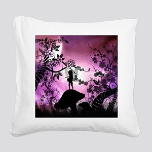 Cute lttle fairy playing guitar Square Canvas Pill